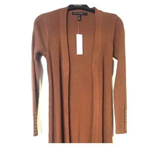 Women's Brown Ribbed Duster by WHBM Size XSP